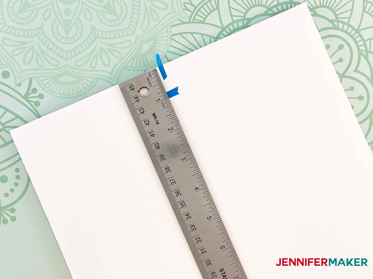 Find the center and measure one inch down on the foam core for the personalized unicorn frame