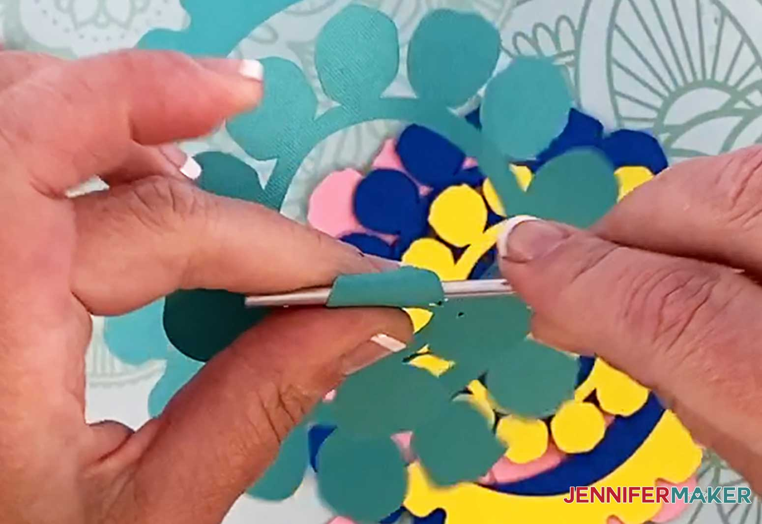 Roll the petals using a pen or other round device for the roses in my personalized unicorn frame