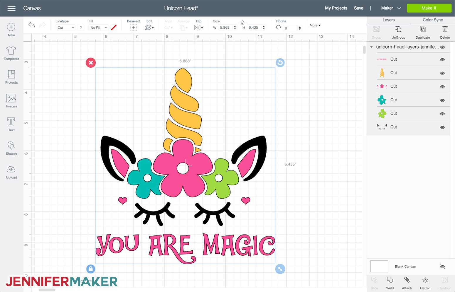 Cute Unicorn SVG uploaded to Cricut Design Space