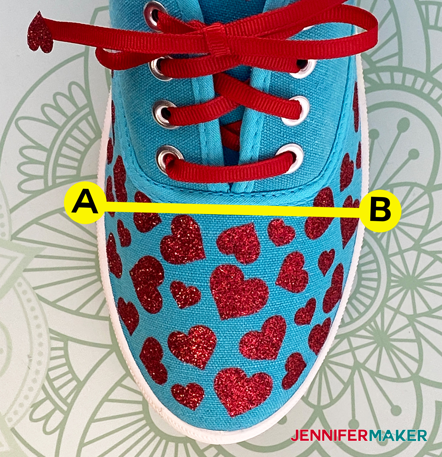 Measure the width of your sneaker from point A to point B