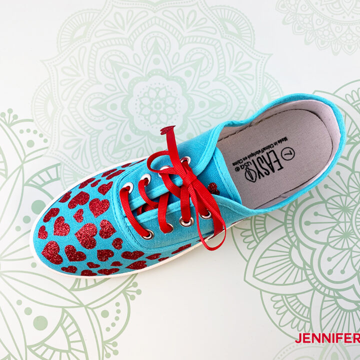 This is my heart design for my upcycled sneakers