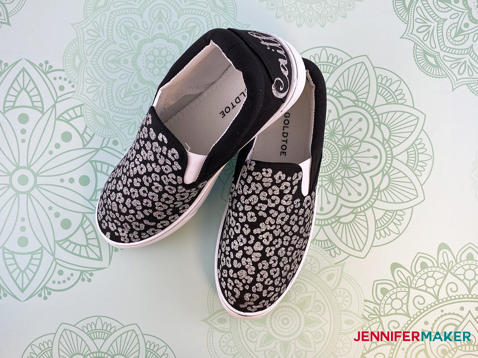 This is my leopard design for my upcycle sneakers