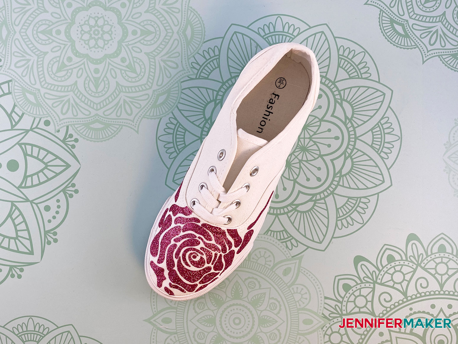This is my rose design for my upcycled sneakers