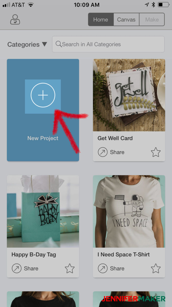 Click New Project in Cricut Design Space to upload an svg file on an iPhone or iPad