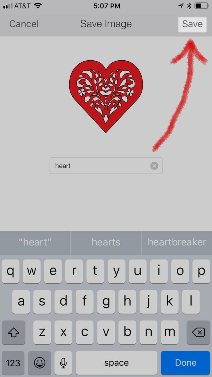 Naming and saving the red heart uploaded to Cricut Design Space - how to upload an svg file on an iPhone or iPad