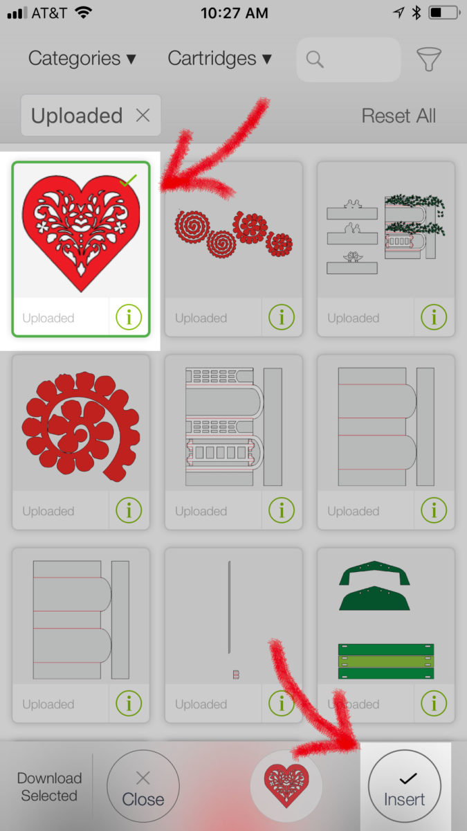 Inserting the red heart uploaded to Cricut Design Space - how to upload an svg file on an iPhone or iPad