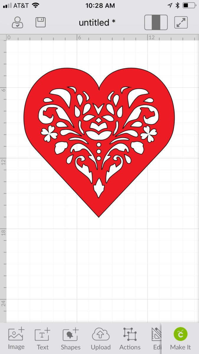 A red heart uploaded to Cricut Design Space - how to upload an svg file on an iPhone or iPad