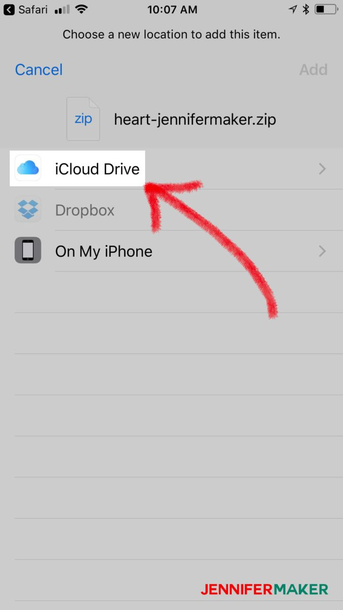 Tap iCloud Drive to save a file to upload svg files to Cricut Design Space on an iPhone or iPad