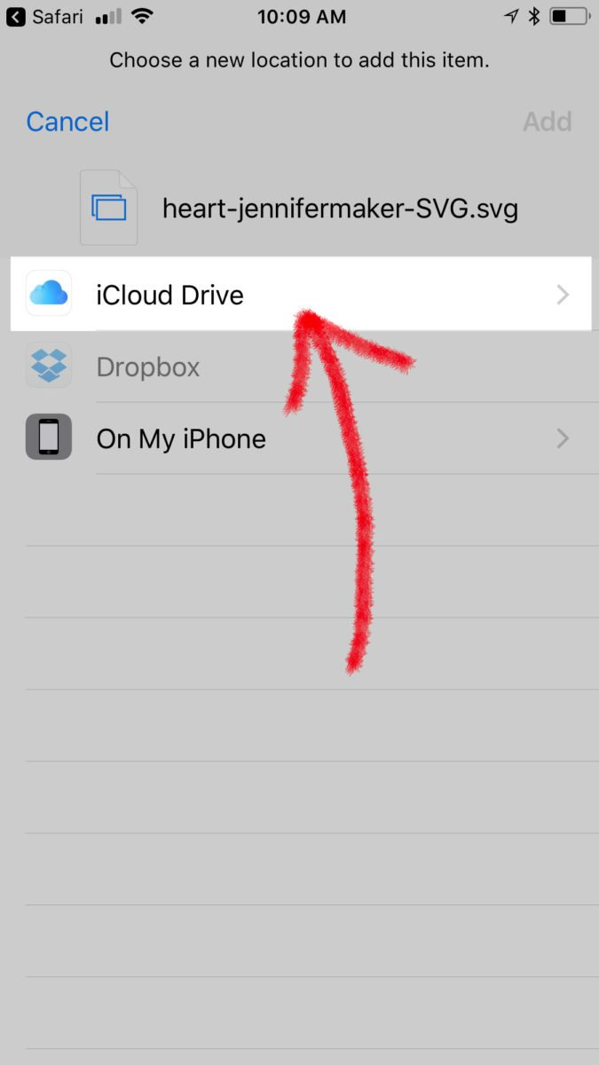 Tap iCloud Data to save a file to upload svg files to Cricut Design Space on an iPhone or iPad