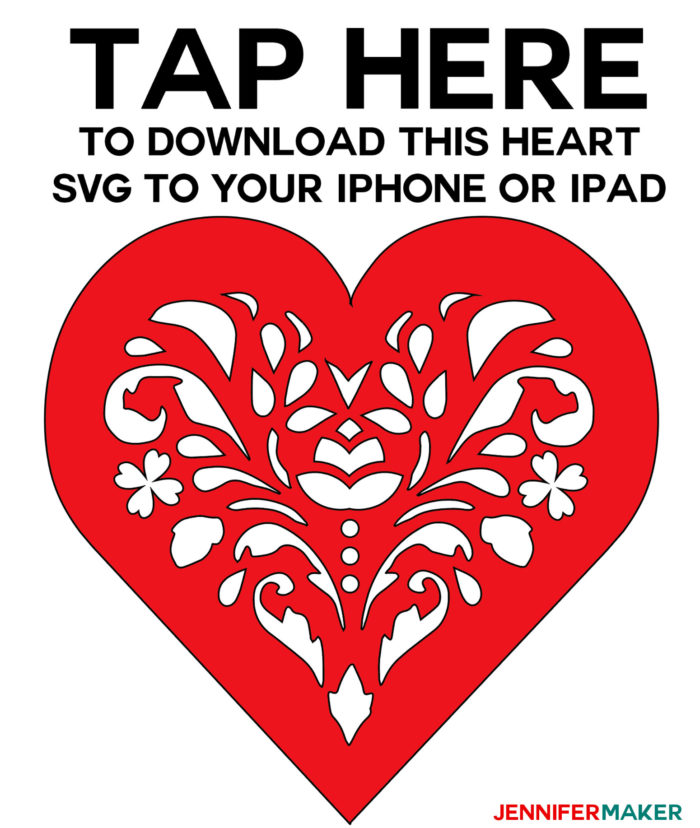 Red heart SVG files for the tutorial on how to upload svg files to Cricut Design Space on an iPhone or iPad