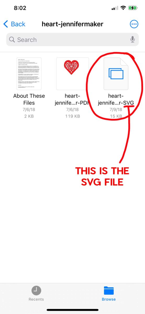 Finding the SVG file in a folder on the iPhone