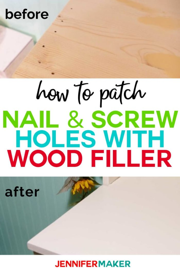 Learn how to use wood filler to patch nail and screw holes in wood. My technique will give you a smooth finish to fill imperfections like scratches, gouges, and chips.  #diy #tutorial #craftprojects #craftroom