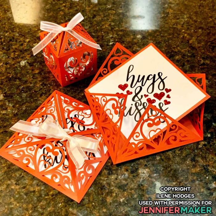Red filigree treat box and cards perfect for Valentine's Day