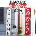 Easy Vertical Wood Holiday SIgn made on a Cricut! #cricutexplore #cricutmaker #holidaydecor #frontporch #vinyl #signs
