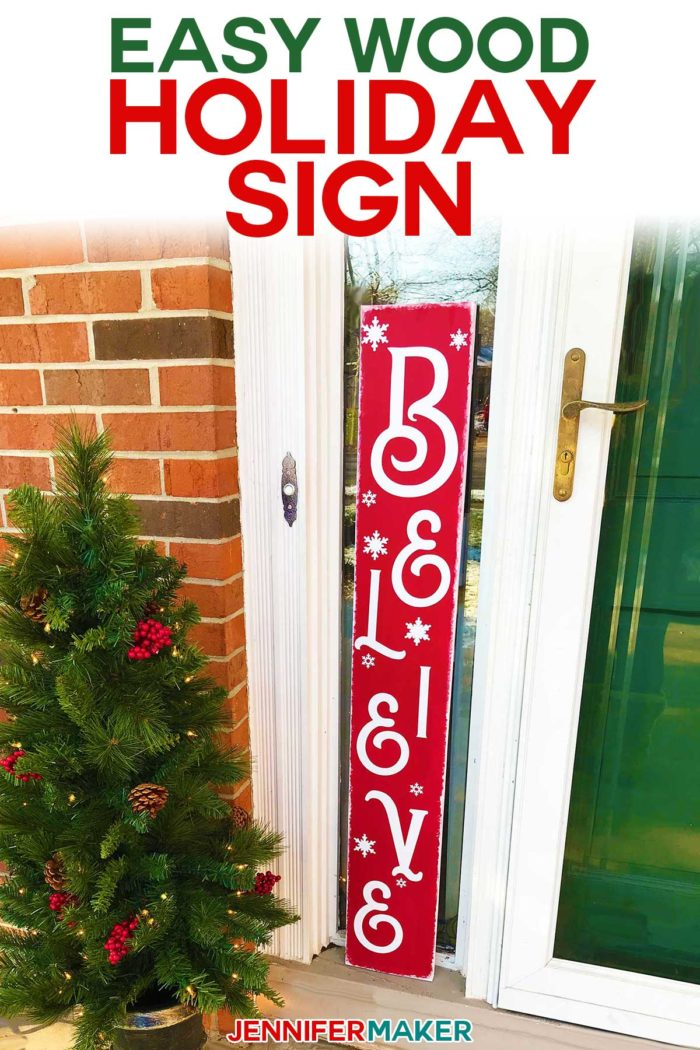 Easy Vertical Wood Holiday SIgn made on a Cricut! #cricutexplore #cricutmaker #holidaydecor #frontporch #vinyl #signs
