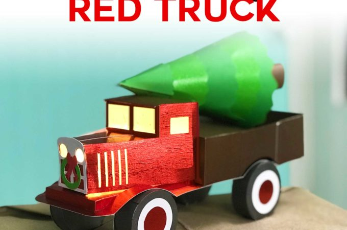 Make a Vintage Red Truck from paper with this free pattern! #Cricut #cricutmade #papercraft #christmas #svgcutfile