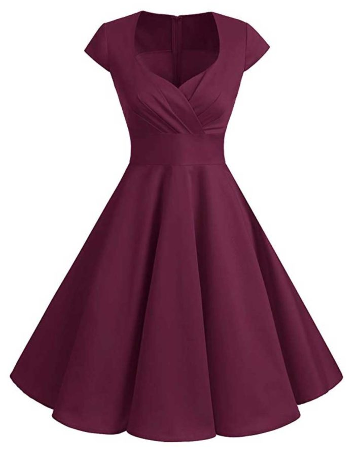 Vintage-style dress with sweetheart neckline and A-Line skirt