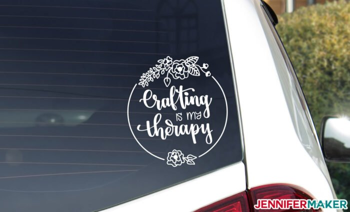 Crafting is my therapy free vinyl car decal in white vinyl