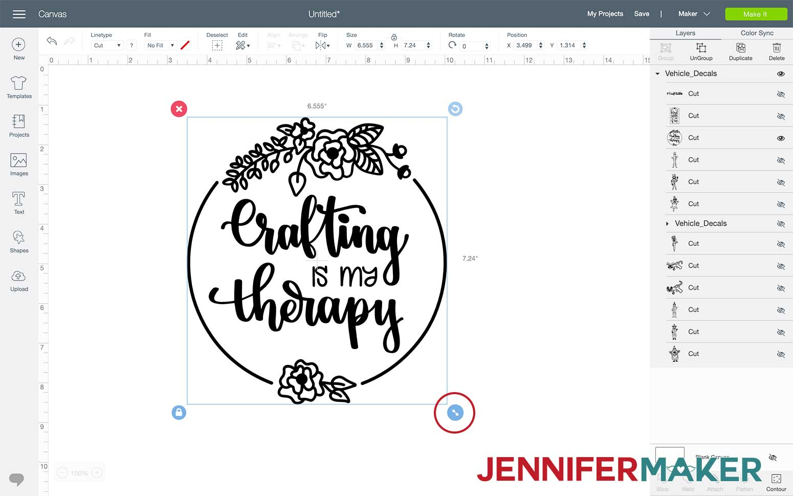 Crafting is My Therapy SVG Design opened in Cricut Design Space