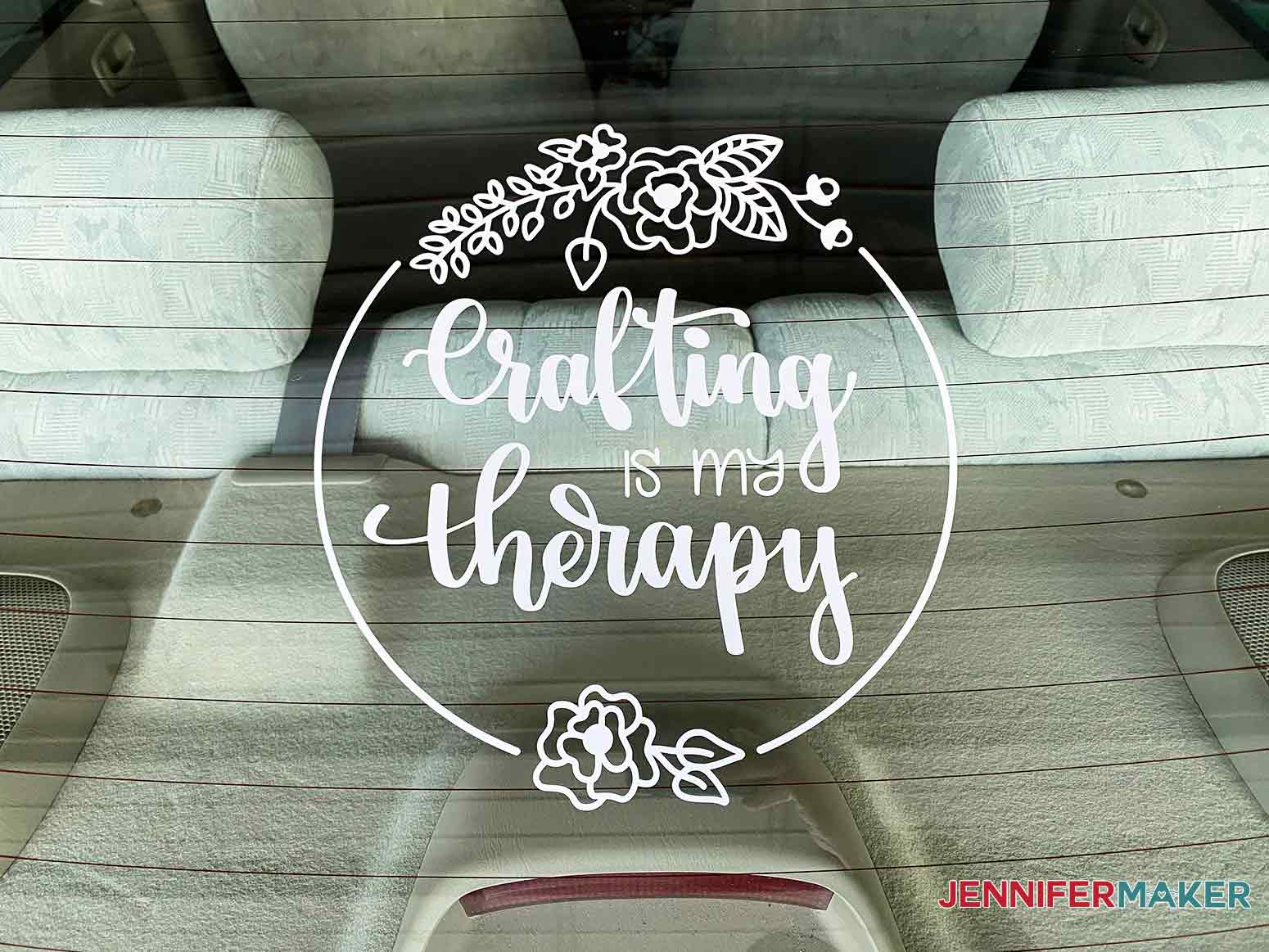 Crafting is my Therapy Vinyl Car Decal applied to the back windshield.