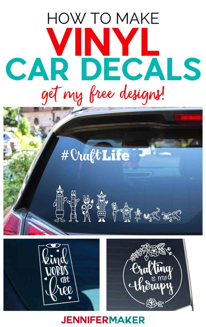 How to make vinyl car decals on your Cricut to personalize your vehicle. #cricut #vinyl #freesvg