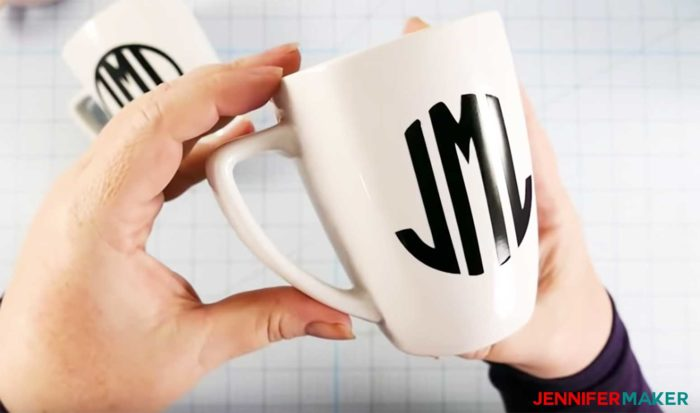 Perfectly black and smooth vinyl on a white ceramic mug