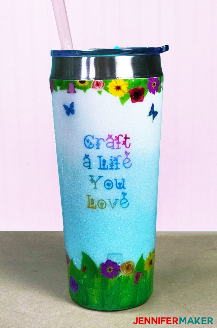 "Waterslide decal mug in blue and white ombre with flowers and ""Craft a Life You Love"" on it"