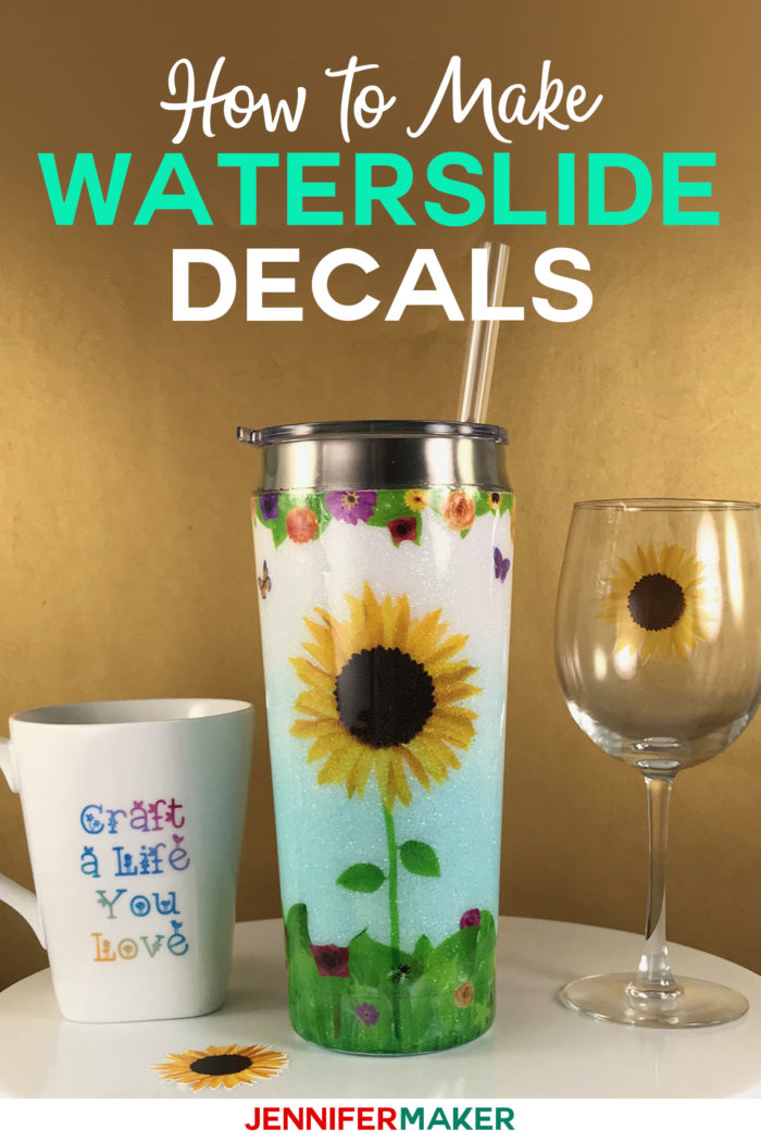 Waterslide Decal Tutorial for Glitter Tumblers, Mugs, and Glasses - learn how to make printable inkjet waterslide decals and cut them on your Cricut! #cricut #cricutmade #designspace #waterslide #decal