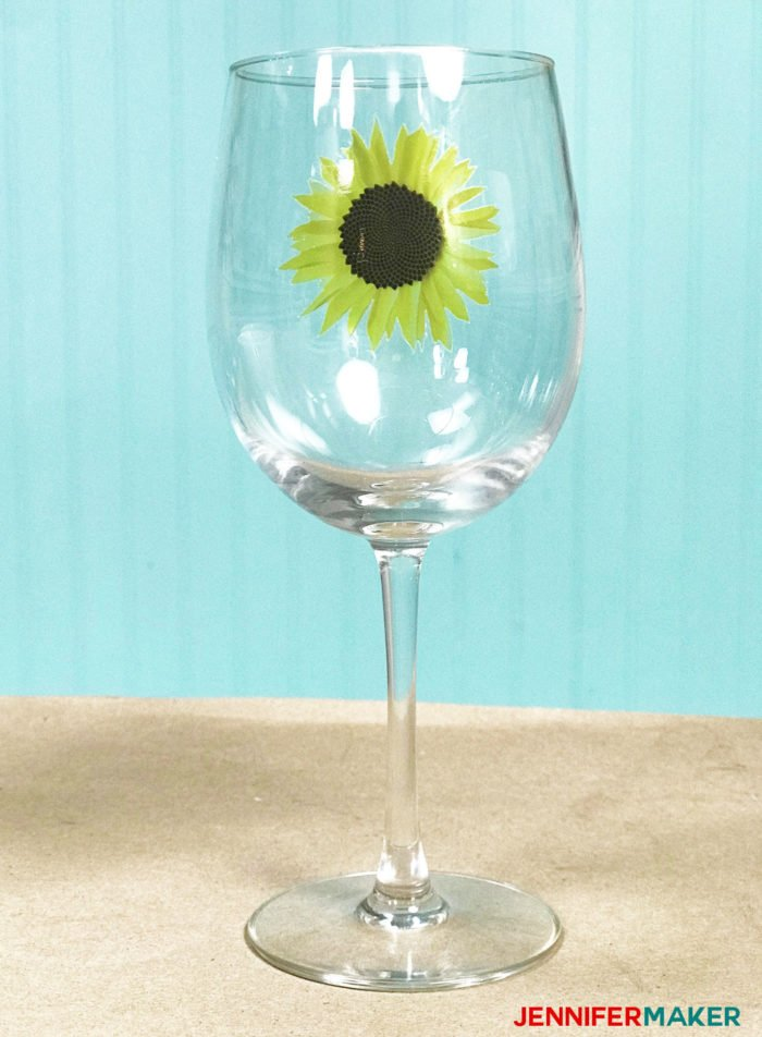 Waterslide decal wine glass with a sunflower on it