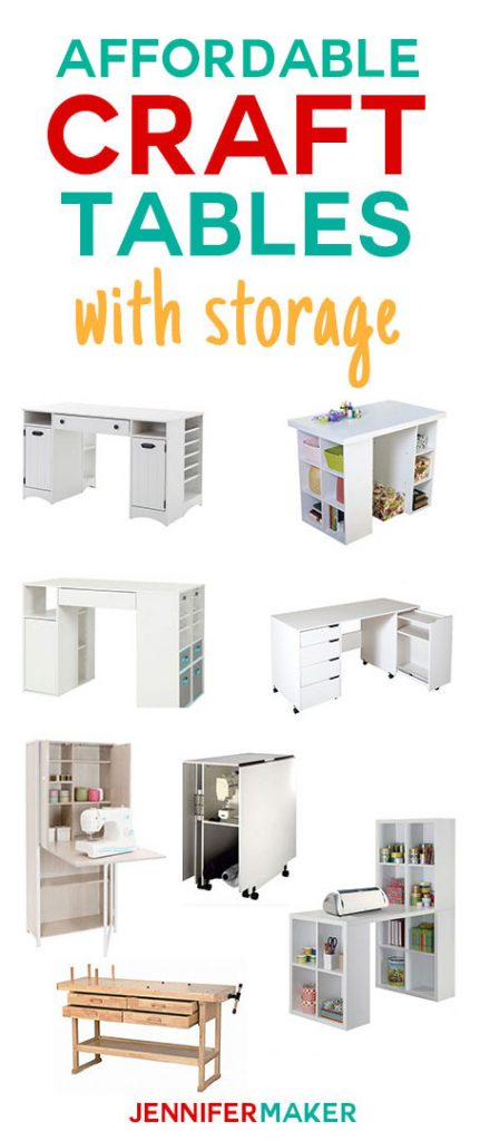 Need a new craft table! Here's my list of affordable craft tables with storage to organize all your craft supplies! | craft room organization | craft table with storage | craft table ideas