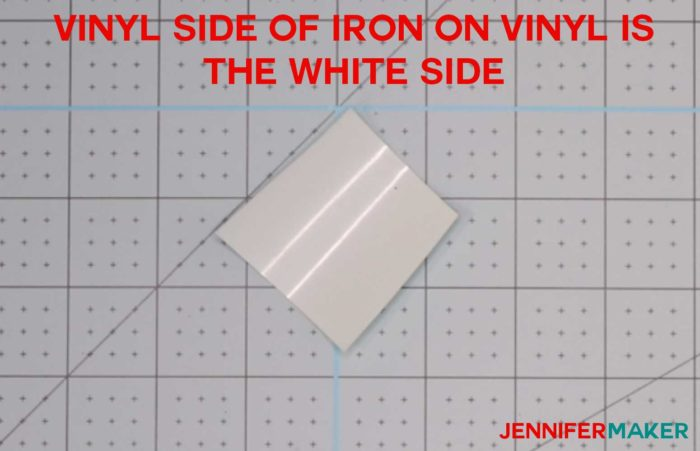 A small piece of aqua iron-on vinyl white side (vinyl side) up to determine which side of iron on vinyl to cut on!