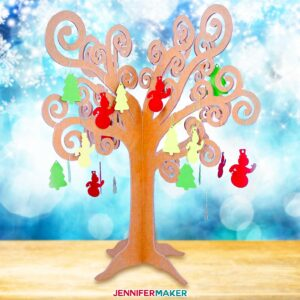 3D chipboard tree with ornaments -- whimsical decor you can cut on a Cricut