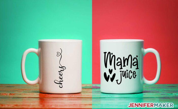 Cheers and Mama Juice decals on white ceramic mugs are fun Cricut mug ideas