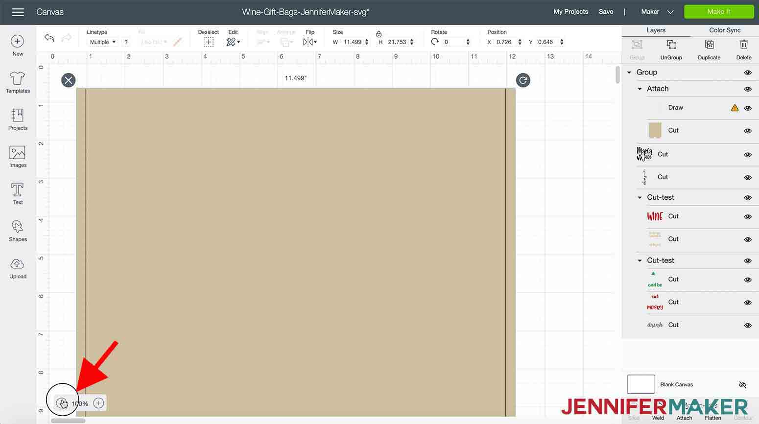 shows zooming out in Design Space in Wine Gift Bag SVG