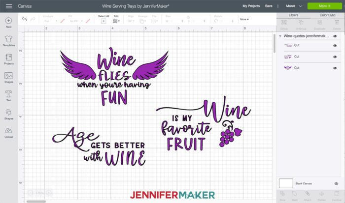 Wine Tray Decals to cut from vinyl and put on your wood trays