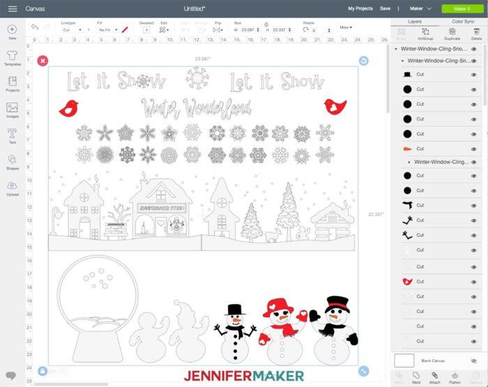 Winter Scene Window Cling SVG Cut File Uploaded to Cricut Design Space