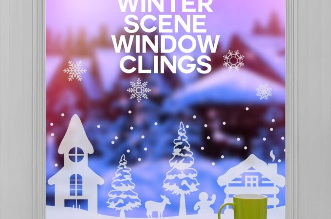 Make Your Own Winter Scene Window Cling with window cling vinyl and a Cricut in this tutorial with free SVG cut files #cricut #window #winter