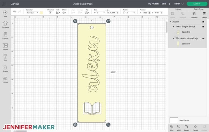 Wooden bookmark SVG cut file in Cricut Design Space, personalized with a cursive name
