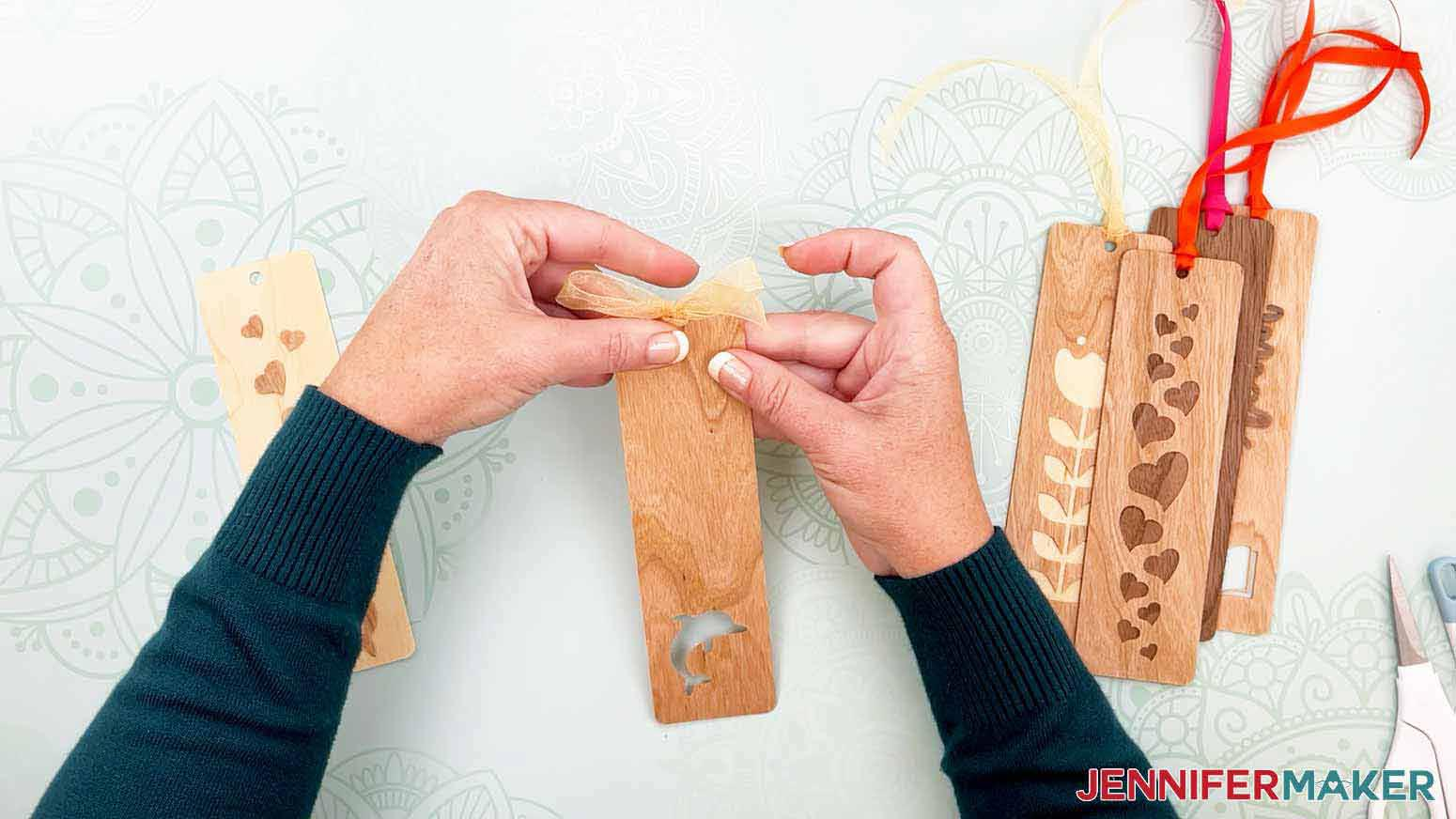 Make a bow instead of a tassle for my wooden bookmarks project