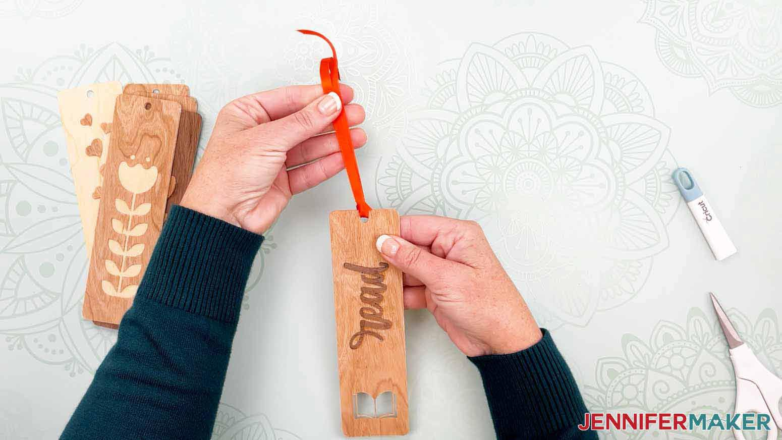 This is what the ribbon looks like on my read bookmark for my wooden bookmarks project